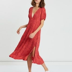 Free People NWT Looking for Love Red Midi Dress